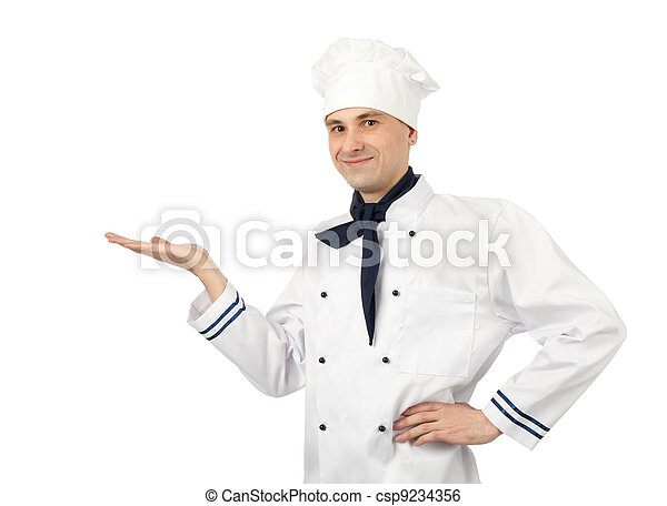 male chef isolated over white background - csp9234356