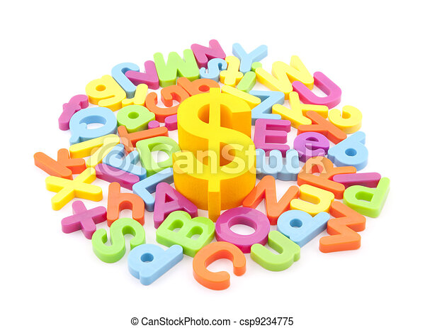 Dollar symbol and colorful letters - csp9234775