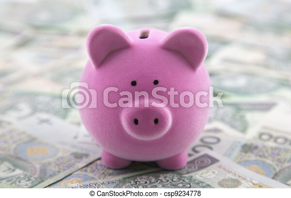 Piggy bank on polish money - csp9234778