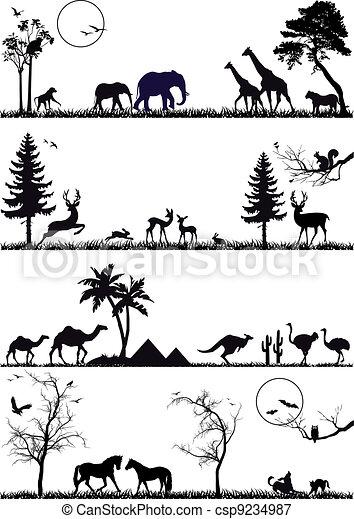 animal background set, vector - csp9234987