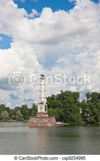 Chesme Column in Tsarskoye Selo commemorates three Russian naval victories in the Russo-Turkish War, 1768-1774, specifically the Battle of Chesma. - csp9234995