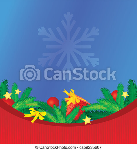 vector colorful christmas background  with tree brunches gift and other decor - csp9235607