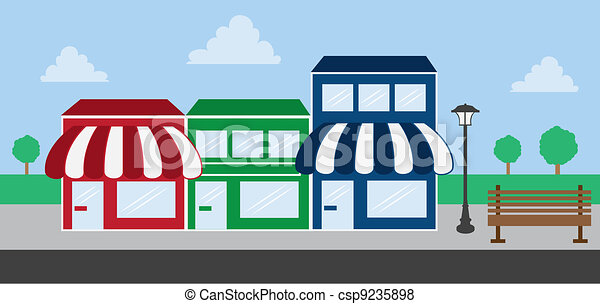Store Front Strip Mall  - csp9235898