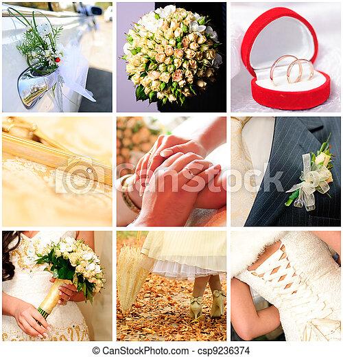 collage of nine wedding photos - csp9236374