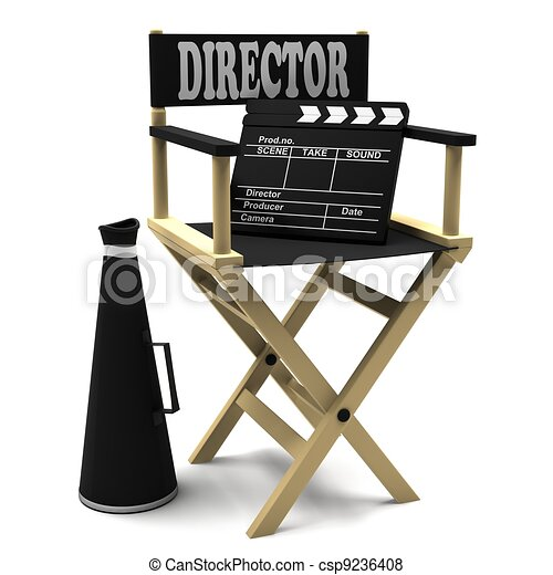 Chair director, movie clapper - csp9236408
