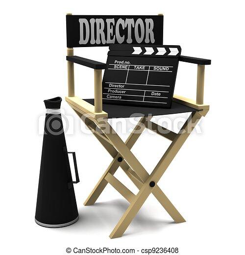 Chair director, movie clapper - csp9236408