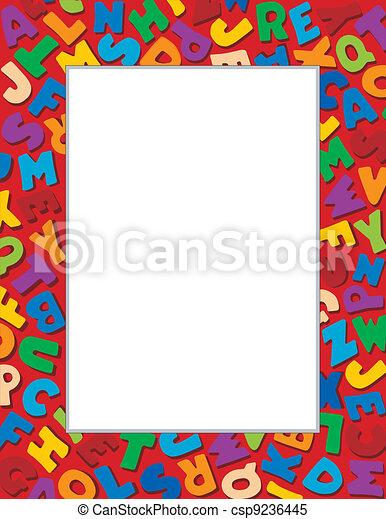 Alphabet Frame, Red Background - csp9236445