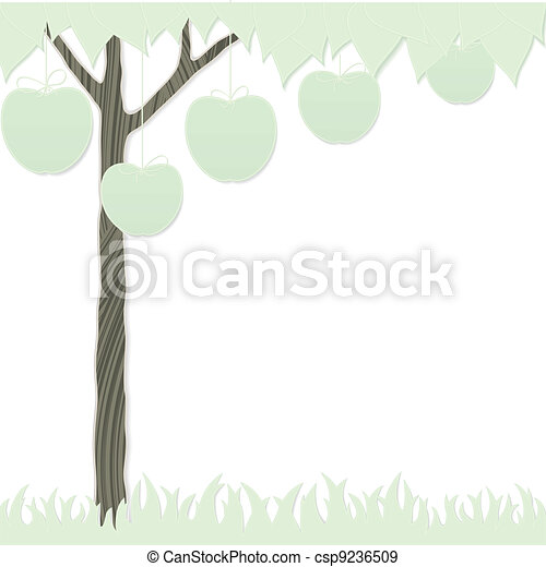 cutout apple tree and grass - csp9236509