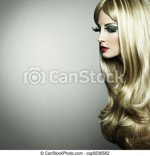 Portrait of a blond woman with long eyelashes - csp9236582