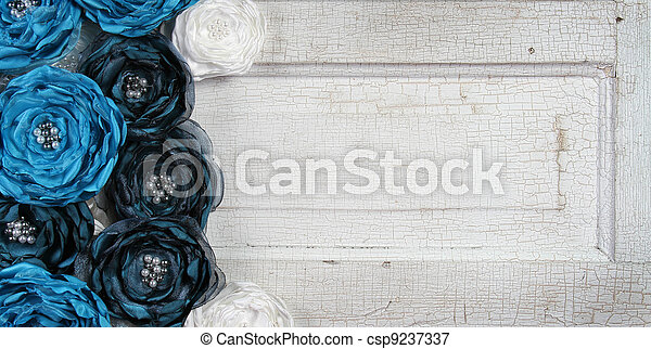 blue vintage flowers on an old door - csp9237337
