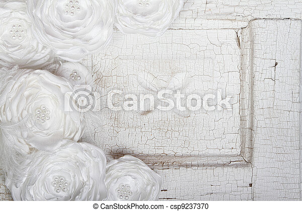 White Vintage flowers on a vintage background - csp9237370