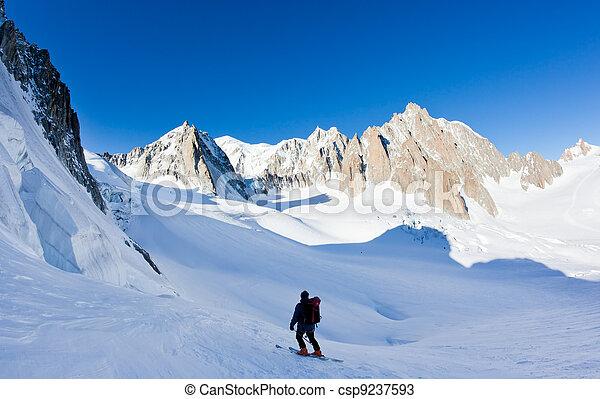 Skier in Mont Blanc Massif - csp9237593