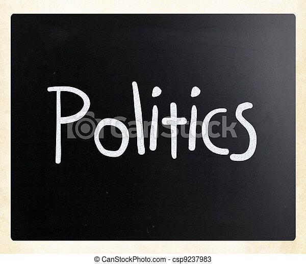 "The word ""Politics"" handwritten with white chalk on a blackboard - csp9237983"