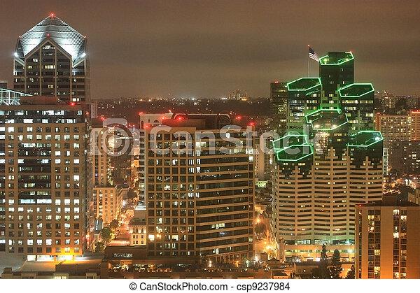 Downtown at Night - csp9237984
