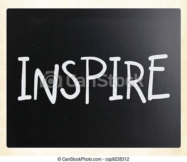 """""""Inspire"""" handwritten with white chalk on a blackboard - csp9238312"""