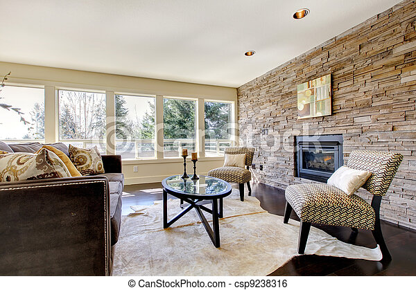 Beautiful modern large bright living room. - csp9238316