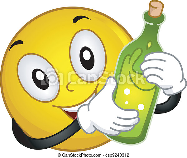 Smiley Holding a Wine Bottle - csp9240312