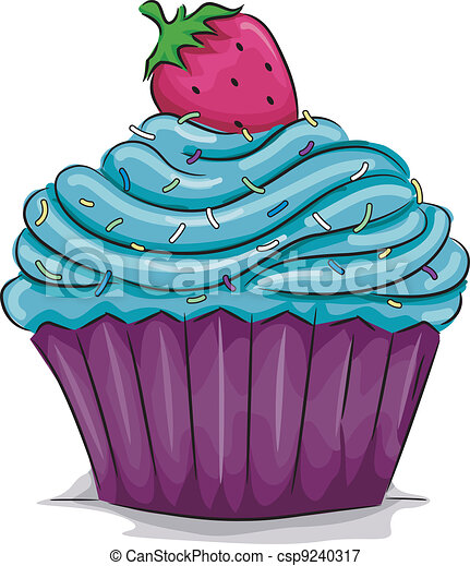 Cake Line Art Vector Free Download : Vectors Illustration of Strawberry Cupcake - Illustration ...