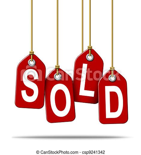 Sold Retail Price Tag Sign - csp9241342