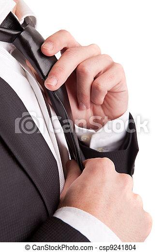 Business man fixing his tie - csp9241804