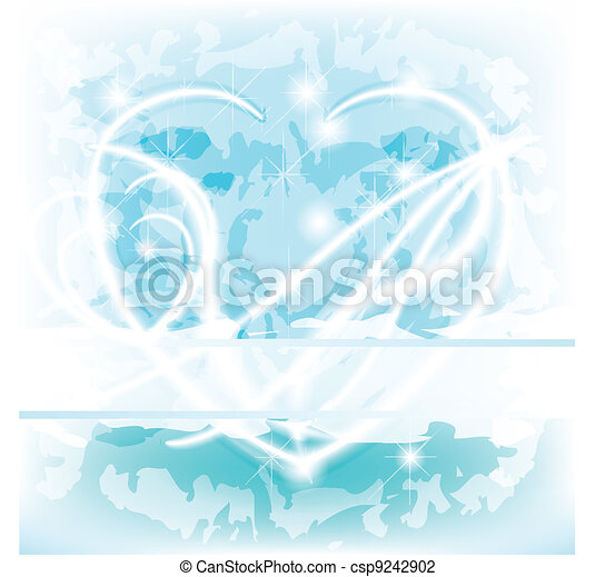 Blue glowing delicate Heart with text space - csp9242902