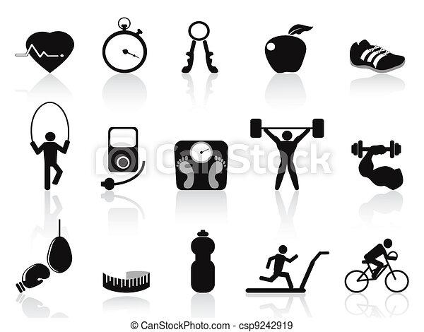 black fitness icons set - csp9242919