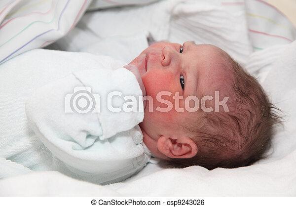 Newborn baby minutes after the birth - csp9243026