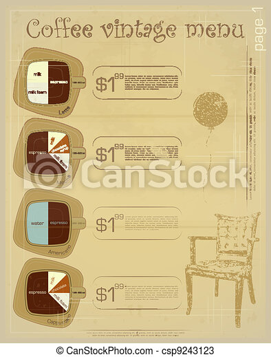 Template of menu for coffee drinks - csp9243123
