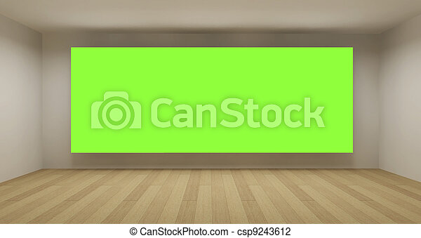 Empty room with green chroma key backdrop, 3d art concept, clean space - csp9243612