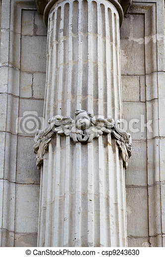Old column, facade of the University of Alcala de Henares, Madrid, Spain - csp9243630