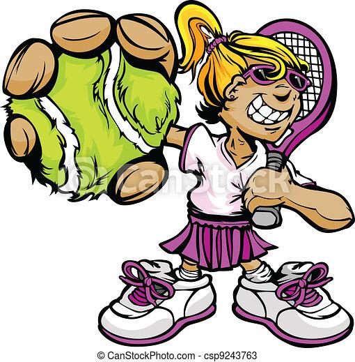 Kid Tennis Player Girl Holding Racquet and Ball - csp9243763