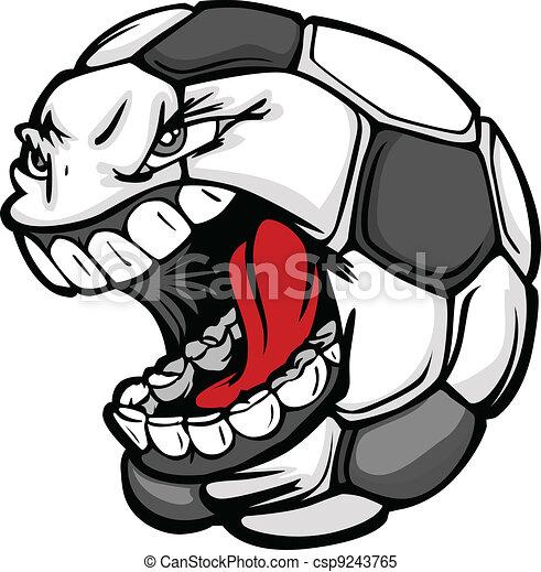 Soccer Ball Screaming Face Cartoon Vector Image - csp9243765