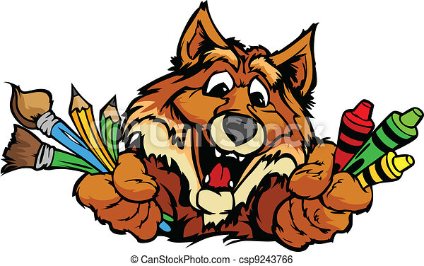 Happy Preschool Fox Mascot Cartoon Vector Image - csp9243766