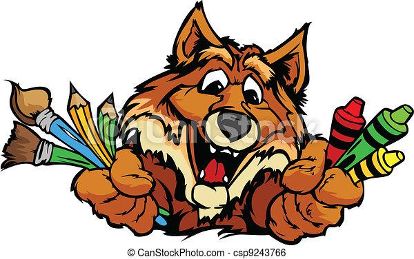Happy Preschool Fox Mascot Cartoon Vector Image - csp9243766