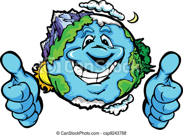 Happy Planet Earth with Thumbs up Gesture Vector Cartoon - csp9243768