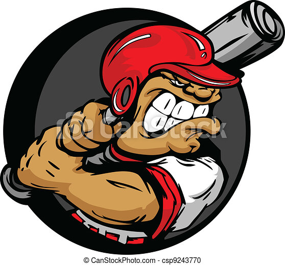 Vector Clipart of Tough Baseball Player with Helmet Holding ...