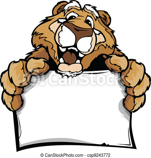 Cartoon Vector Image of a Happy Cute Cougar Mascot Holding Sign - csp9243772
