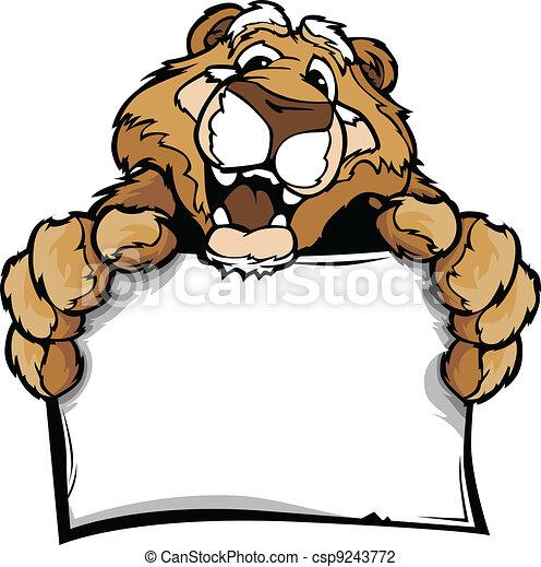 Cartoon Vector Image of a Happy Cute Cougar Mascot Holding Sign - csp9243772