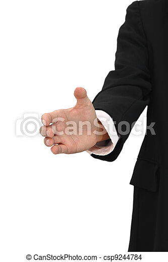 Hand of business man try to grasp on white background. - csp9244784