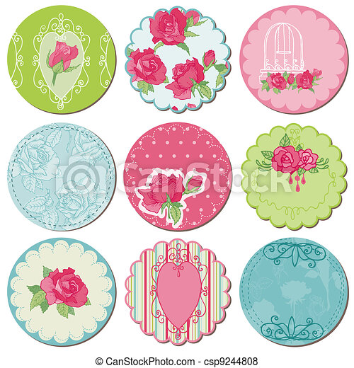 Scrapbook Design Elements - Tagd with Rose Flowers in vector - csp9244808