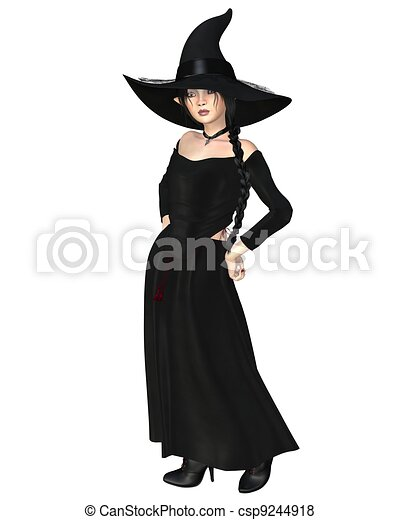 Young Witch in Black Hat and Dress - csp9244918