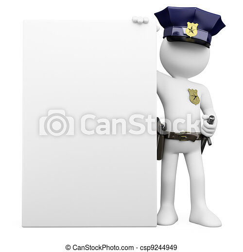 3D Police with a blank poster - csp9244949