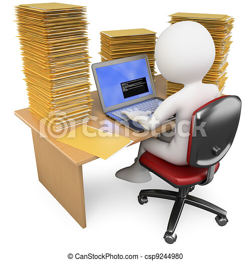 3D Clerk working in the office with much to do - csp9244980