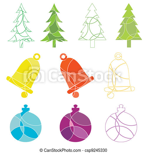 Christmas tree and decoration icons - csp9245330