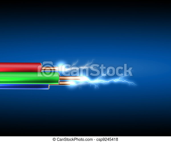 Electric cord with electricity sparkls - csp9245418