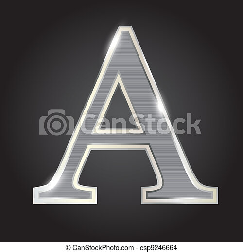 Silver metallic fonts vector illustration - csp9246664
