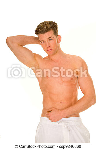 bare-chested man showing muscles - csp9246860