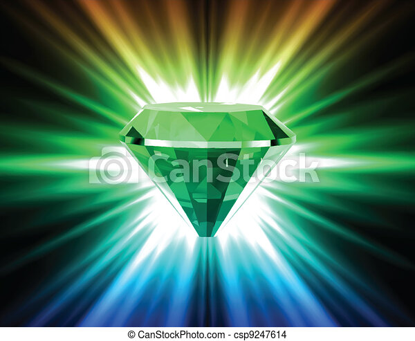 Colorful diamond on bright background. Vector - csp9247614