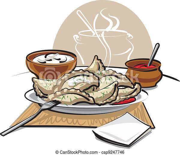 dumplings with sauce and sour cream - csp9247746
