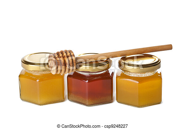 honey in bottles and wooden dipper isolated - csp9248227